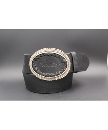 Ceinturon cuir noir - Boucle ovale en cuir piramide et bord dorée