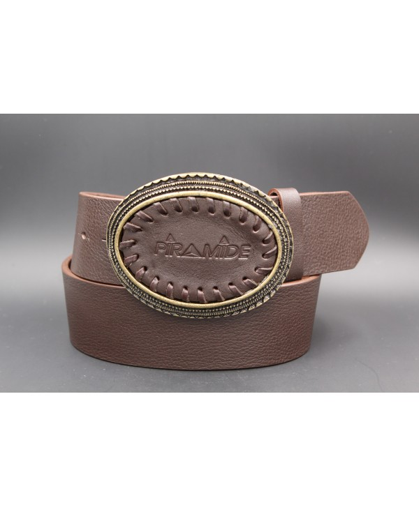 Large brown leather belt - Oval leather buckle piramide and golden edge