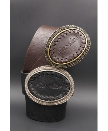 Large leather belt - Oval leather buckle piramide and golden edge