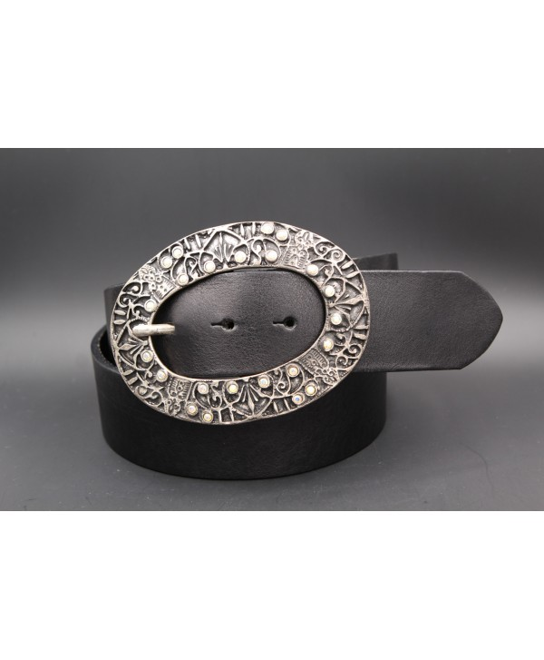 Large black leather belt - Oval nickel and rhinestone buckle
