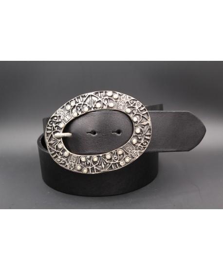 Ceinturon cuir noir - Boucle ovale nickel et strass
