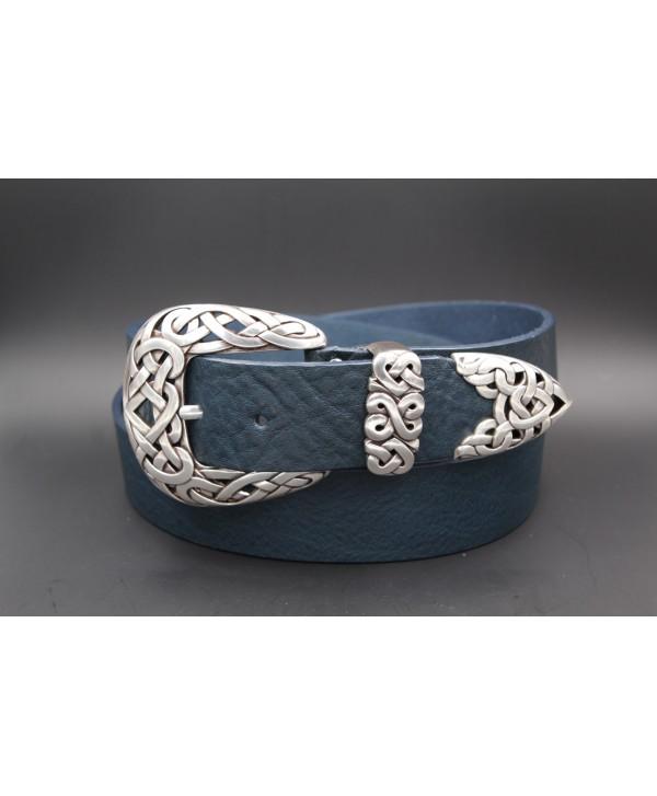 Large blue leather belt toecap