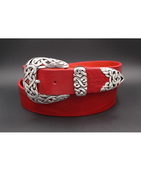 Large red leather belt toecap
