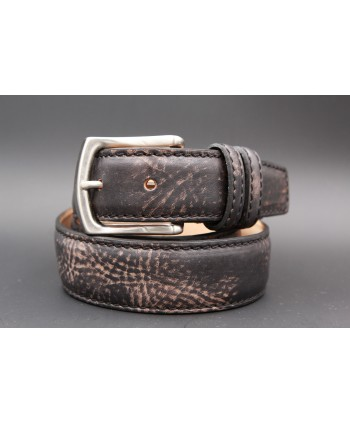 Casual leather belt - black and gold - second example