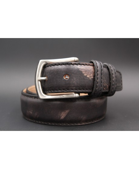 Casual leather belt - black and gold - first example