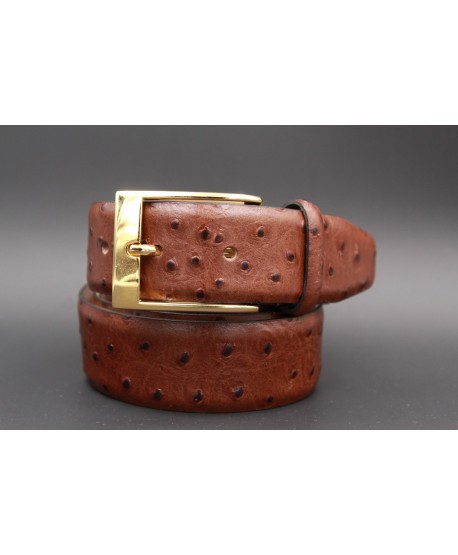 Brown Croco-style leather belt - golden buckle
