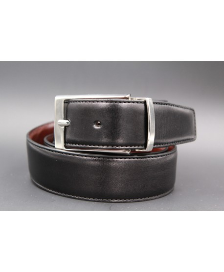 Black and brown reversible leather belt - black side