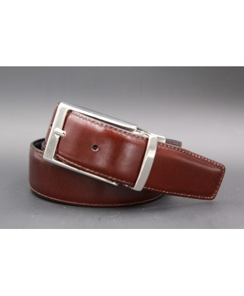 Black and brown reversible leather belt - brown side