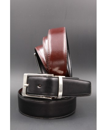 Black and brown reversible leather belt