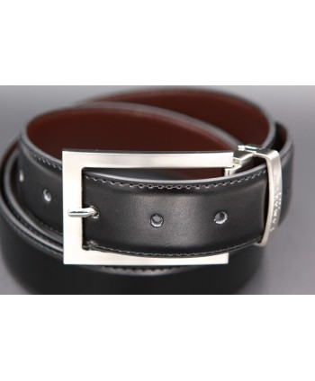 Reversible black and brown Lamarthe belt - LAM22 - buckle detail