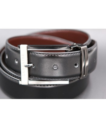 Reversible black and brown Lamarthe belt - LAM1S - buckle detail