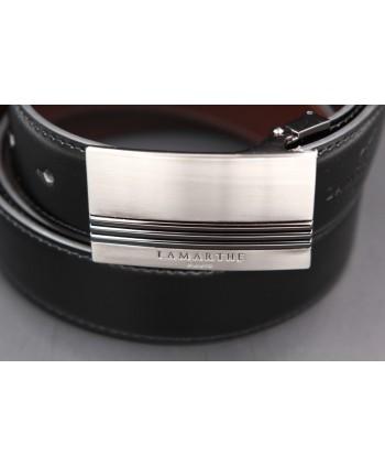 Reversible black and brown Lamarthe belt - LAM20 - buckle detail