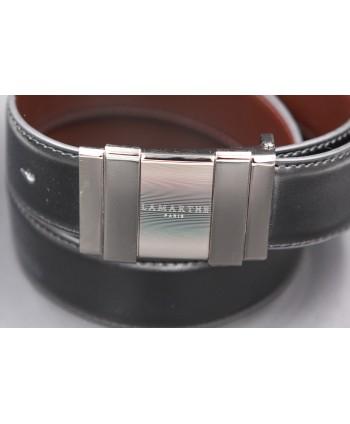 Reversible black and brown Lamarthe belt - LAM21 - buckle detail