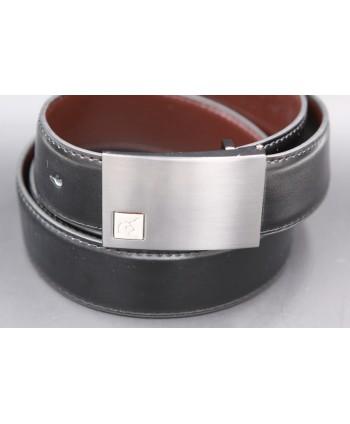Reversible black and brown Lamarthe belt - LAM16 - buckle detail