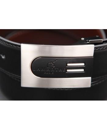 Reversible black and brown Lamarthe belt - LAM5 - buckle detail