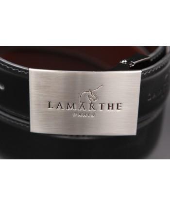 Reversible black and brown Lamarthe belt - LAM2 - buckle detail