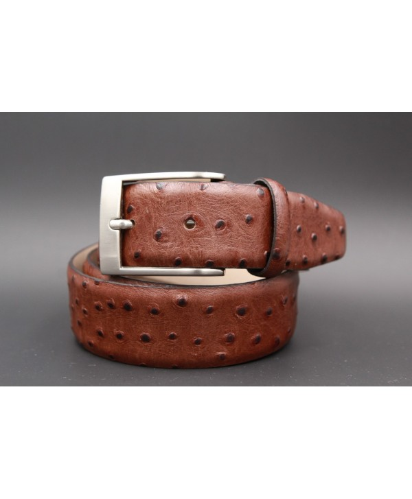 Brown Croco-style leather belt - nickel buckle