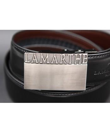 Reversible black and brown Lamarthe belt - LAM01 - buckle detail