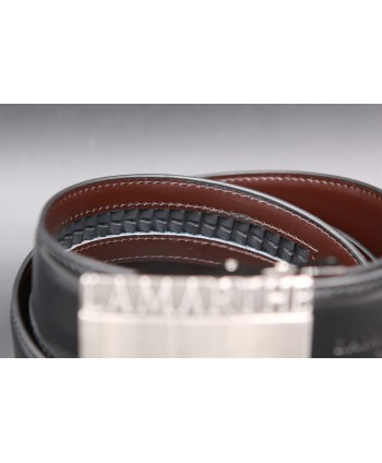 Reversible black and brown Lamarthe belt - LAM01 - automatic system detail