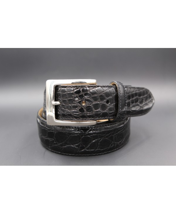 Ceinture en peau de crocodile noire