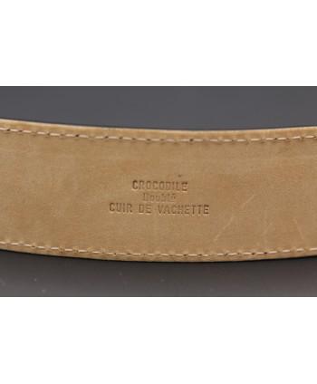 Ceinture en peau de crocodile noire - doublure cuir vachette