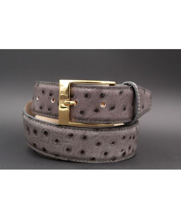 Grey Croco-style leather belt - golden buckle