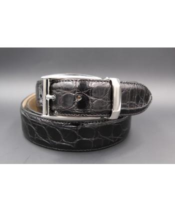 Black crocodile skin belt - nickel buckle