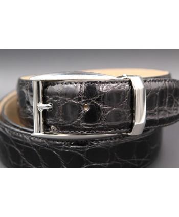 Black crocodile skin belt - nickel buckle - buckle detail