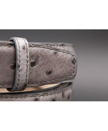 Grey Croco-style leather belt - detail
