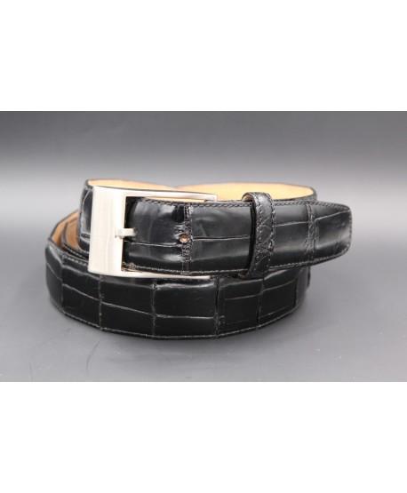 Black alligator skin belt nickel buckle