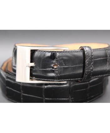Black alligator skin belt nickel buckle - buckle detail