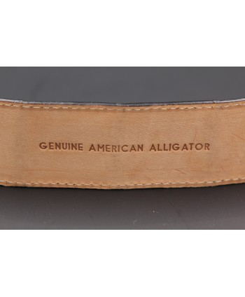 Black alligator skin belt - back detail