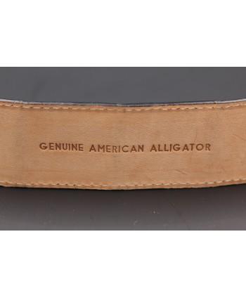 Ceinture en peau d'alligator noire - détail doublure
