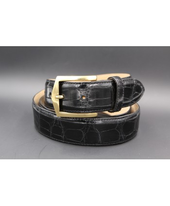 Black alligator skin belt golden buckle
