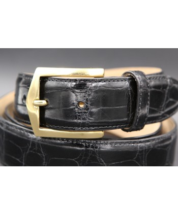 Black alligator skin belt golden buckle - buckle detail