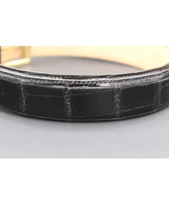 Black alligator skin belt - skin detail