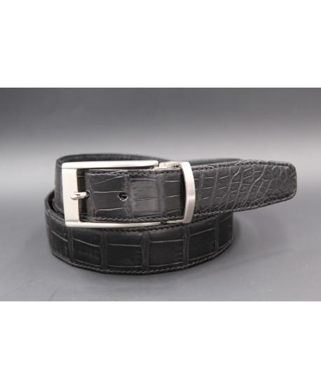 Matte black alligator skin belt