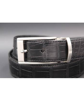 Matte black alligator skin belt - buckle detail