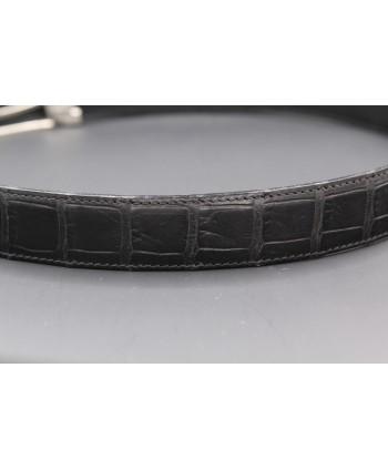 Matte black alligator skin belt - skin detail