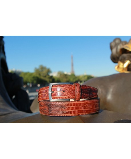 Lizard-style brown leather belt - nickel buckle - natural lighting