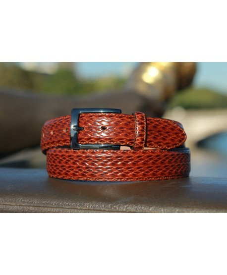 Brown braided style leather belt - natural lighting