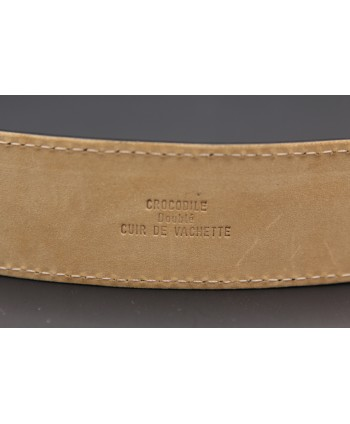 Black crocodile skin belt - back detail