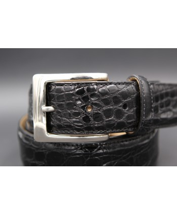 Black crocodile skin belt - buckle detail