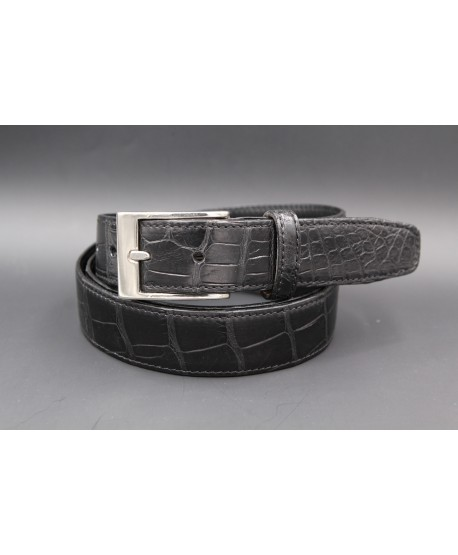 Matte black alligator skin belt