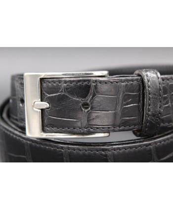 Ceinture en peau d'alligator noire mat - détail boucle