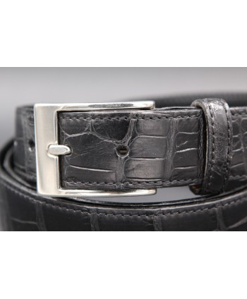 Matte black alligator skin belt - buckle detail