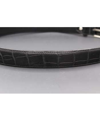 Matte black alligator skin belt - skin detail