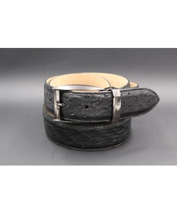 Black ostrich skin belt width 35 - gunmetal buckle