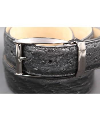 Ceinture en peau d'autruche noire largeur 35 - boucle canon de fusil - détail boucle