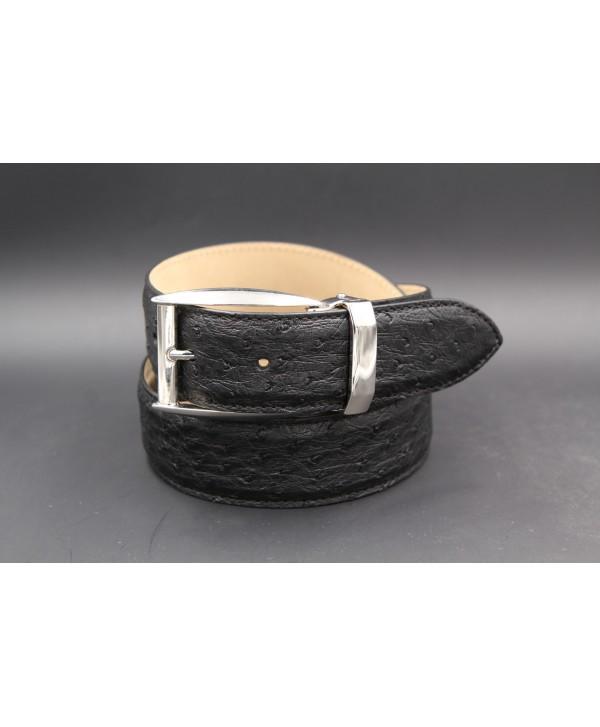 Black ostrich skin belt width 35 - nickel buckle